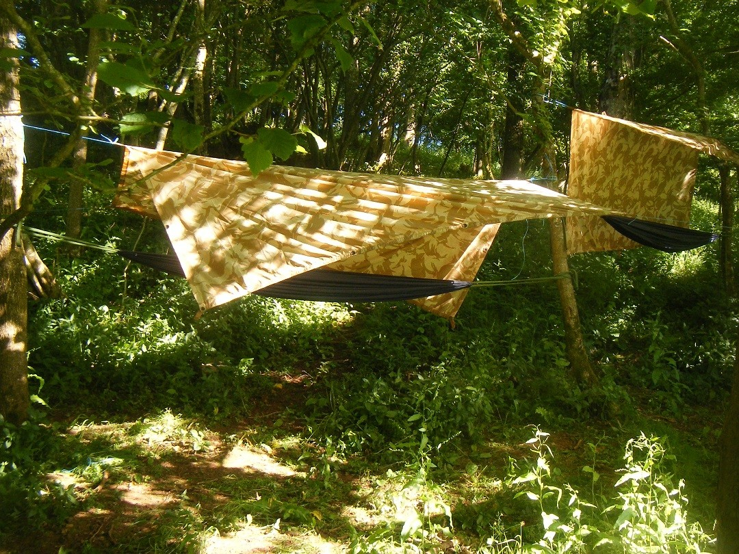 Hammocks for wild camping on a canoeing and bushcraft stag do