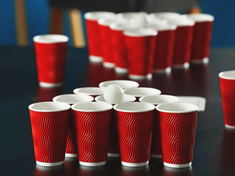 Prosecco Pong is a hen party drinking game twist