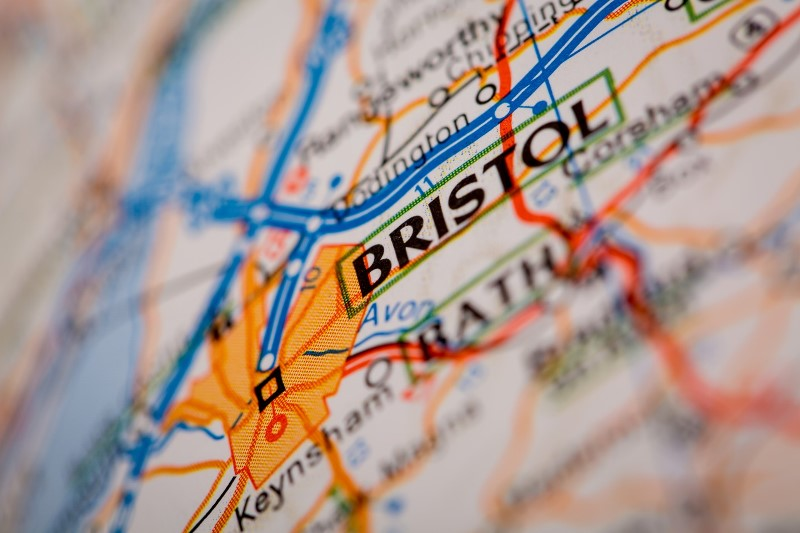 Map for Bristol which can be one of the cheapest stag do destinations in the UK